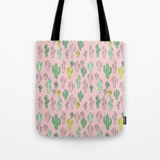 Green & Yellow Cactus on Pink Tote Bag