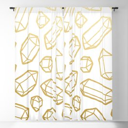 Gold and White Gemstone Pattern Blackout Curtain