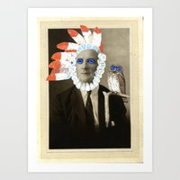 headdress Art Prints featuring headdress by Karen Constance Collage and Paintings