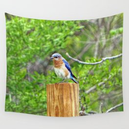 Bluebird on a Fence Post Wall Tapestry