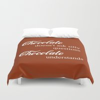 chocolate Duvet Covers featuring Chocolate by DuniStudioDesign