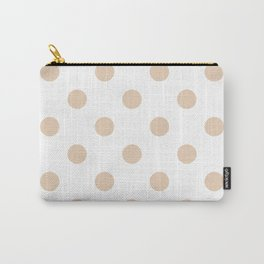 Polka Dots - Pastel Brown on White Carry-All Pouch
