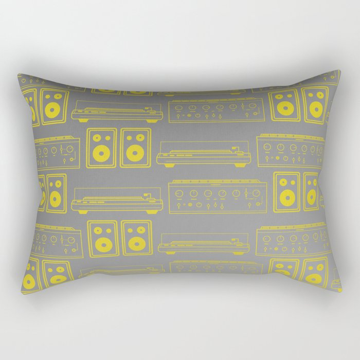 70's Record Player, Amplifier and Speakers in yellow and grey Rectangular Pillow