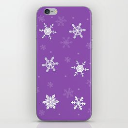 violet pattern with snowflakes iPhone Skin