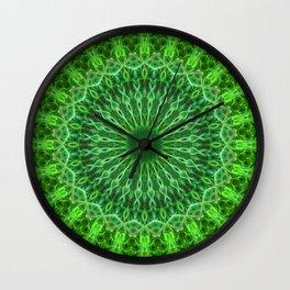 Detailed mandala in green color Wall Clock