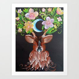 The deer and the moon Art Print