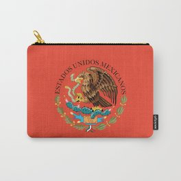 Mexican Flag seal on orange red background Carry-All Pouch