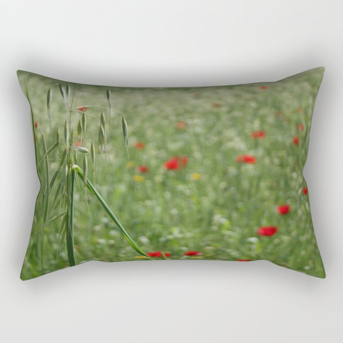 Seed Head With A Beautiful Blur of Poppies Background Rectangular Pillow