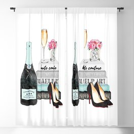 Champagne, Teal, books, shoes, peonies, Peony, Fashion illustration, Fashion, Amanda Greenwood, gift Blackout Curtain