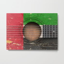 Old Vintage Acoustic Guitar with UAE Flag Metal Print