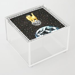 Selene greek goddess cat of the moon handcut collage Acrylic Box