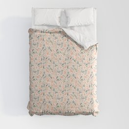 Floral Burst of Dinosaurs and Unicorns in Pink + Green Comforters