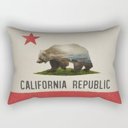 California Grizzly Bear Flag Rectangular Pillow