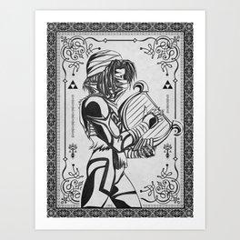 Legend of Zelda Shiek Princess Zelda Geek Line Art Art Print