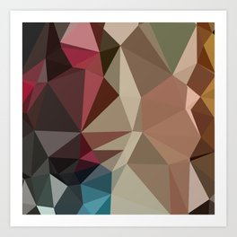 Butterscotch Brown Abstract Low Polygon Background Art Print