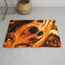 Abstract Gold Fire Paint IV Rug