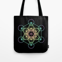Metatron's Cube- Rainbow on Black Tote Bag