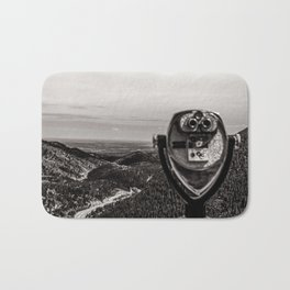 Mountain Tourist Binoculars Black and White Bath Mat