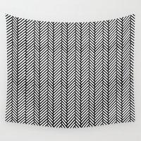 herringbone Wall Tapestries featuring Herringbone Black by Project M