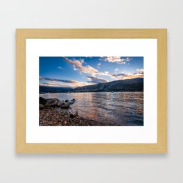 Sunset at Lake Wanaka, New Zealand Framed Art Print