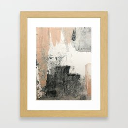 Peace and Quiet [1]: a pretty, minimal abstract piece in gray and peach by Alyssa Hamilton Art Gerahmter Kunstdruck