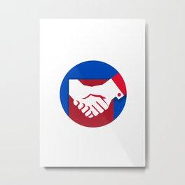 Business Deal Handshake Circle Retro Metal Print