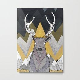 Silver Deer Metal Print