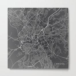 Bristol Map, England - Gray Metal Print