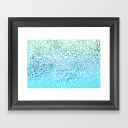 Seafoam Aqua Ocean MERMAID Girls Glitter #1 #shiny #decor #art #society6 Framed Art Print