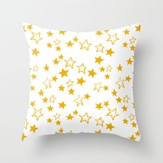 Yellow stars pattern Throw Pillow