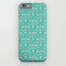 damask pattern torquoise with shadow iPhone 6s Slim Case
