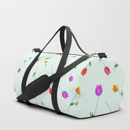 Pattern of tulips. Tulips scattered on the web Duffle Bag