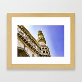 Looking up at One of the Minarets at the Charminar Mosque in Hyderabad, India Framed Art Print
