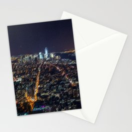 Midtown Manhattan and Freedom Tower Landscape Painting by Jeanpaul Ferro Stationery Cards