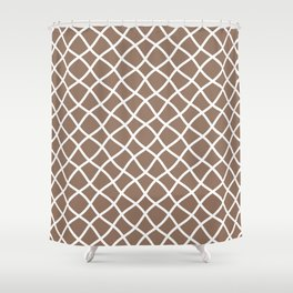 Dark beige and white curved grid pattern Shower Curtain
