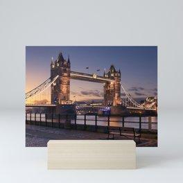 Historic Tower Bridge Thames River London Capital City England United Kingdom Romantic Sunset UHD Mini Art Print