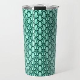 Gleaming Green Metal Scalloped Scale Pattern Travel Mug
