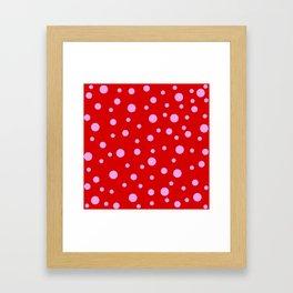 Pink Dots on Red Framed Art Print