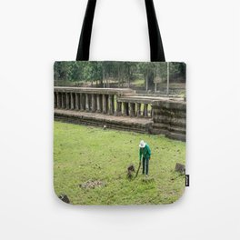 Trimming Grass With a Machete, Angkor Thom, Siem Reap, Cambodia Tote Bag