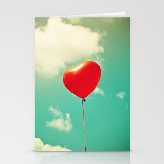 Red Heart Balloon in a Vintage Turquoise Sky  Stationery Cards