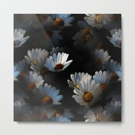 A Plethora Of Floating Daisies Isolated On Black Metal Print