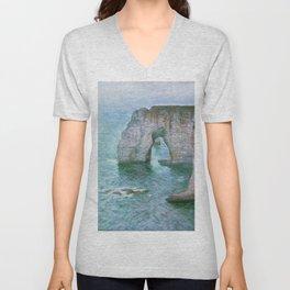 Claude Monet, French, 1840-1926 Manne-Porte, Etretat Unisex V-Neck