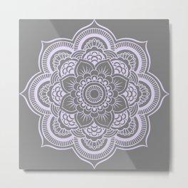Mandala Flower Gray & Lavender Metal Print