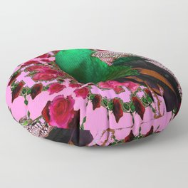STATELY GREEN PEACOCK PINK-RED ROSES ABSTRACT Floor Pillow