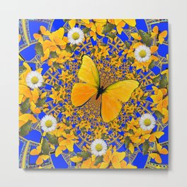 BUTTERFLY GREEN FROGS WHITE DAISIES BLUE MANDALA Metal Print
