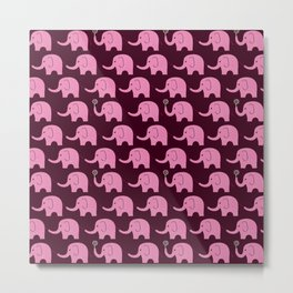 Elephant Parade on Raspberry Metal Print