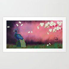 Peacock Blossoms Art Print