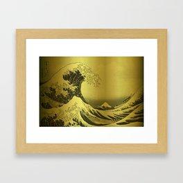 Golden Japanese Great Wave off Kanagawa by Hokusai Framed Art Print