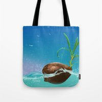 coconut wishes Tote Bags featuring Coconut by Azot