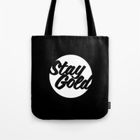 stay gold Tote Bags featuring STAY GOLD by HAUS OF DEVON